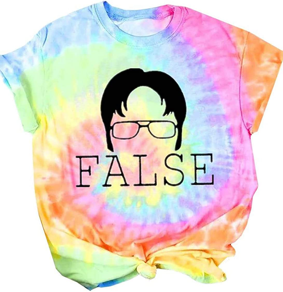 Women False Tie Dye Cute T-Shirt Funny Dwight Silhouette Office Graphic Tees Summer Casual Short Sleeve Shirt