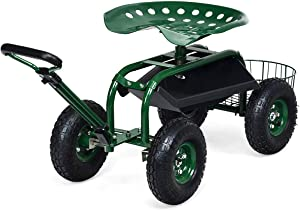 Goplus Garden Cart Gardening Workseat w/Wheels, Patio Wagon Scooter for Planting, Work Seat with Tool Tray and Basket (Length Adjustable Handle)
