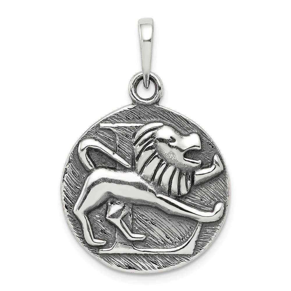925 Sterling Silver Polished Antique Finish Leo Horoscope Shaped Pendant