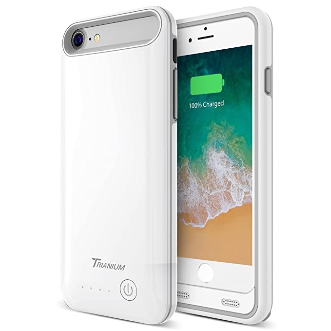 size 40 a36b2 a7fc5 iPhone 8/7 Battery Case, Trianium Atomic Pro 3200mAh Extended iPhone 7 8  Battery Portable Charger for Apple iPhone 7, iPhone 8 (4.7-inch)  [White/Grey] ...