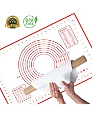 Large Silicone Pastry Baking Mat (40x60cm), TERSELY Non-Stick Reusable Rolling Pastry Mat Cookie Dough Mat with Measuring Guide FDA Approved for Kitchen (Red)