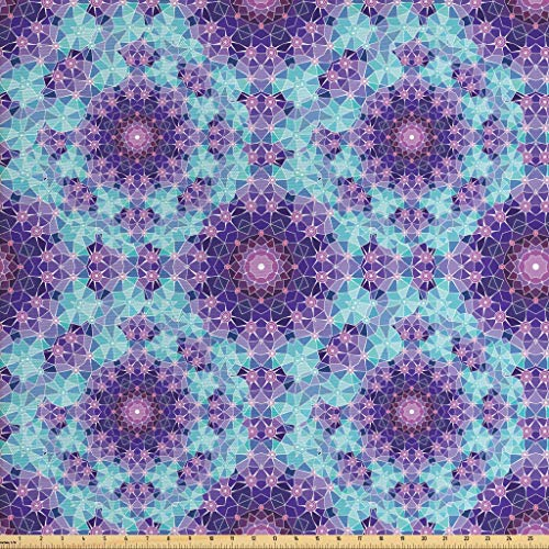 Ambesonne Purple Mandala Fabric The Yard, Geometric Mosaic Fractal Ethnic Sign Universe Graphic Art, Decorative Fabric Upholstery Home Accents, 1 Yard, Sky Blue Teal Mauve Lilac