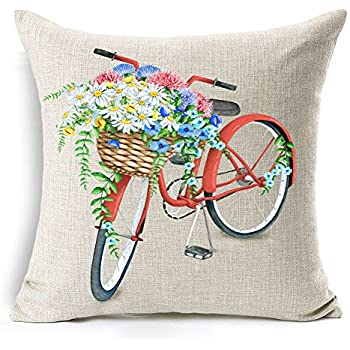 Amazon Com 4th Emotion Yellow Bicycle Throw Pillow Cover