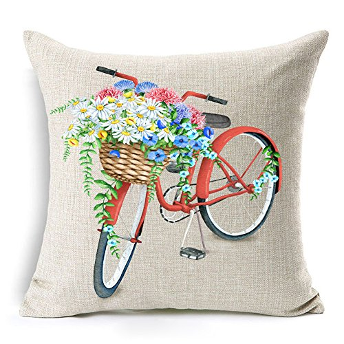 Kithomer Red Bicycle Throw Pillow Cover Vintage Watercolor Retro Flower Home Decorative Cushion Case 18 x 18 Inch (Watercolor Bicycle)