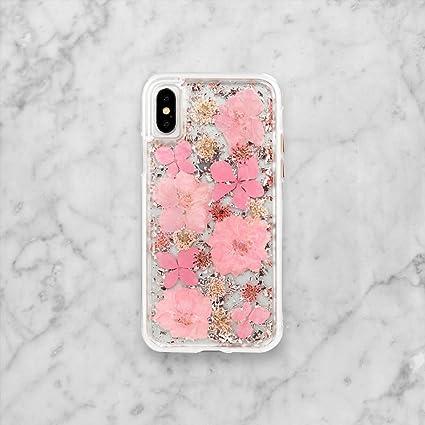 Amazon.com: Flores prensadas teléfono Funda hecho a mano ...