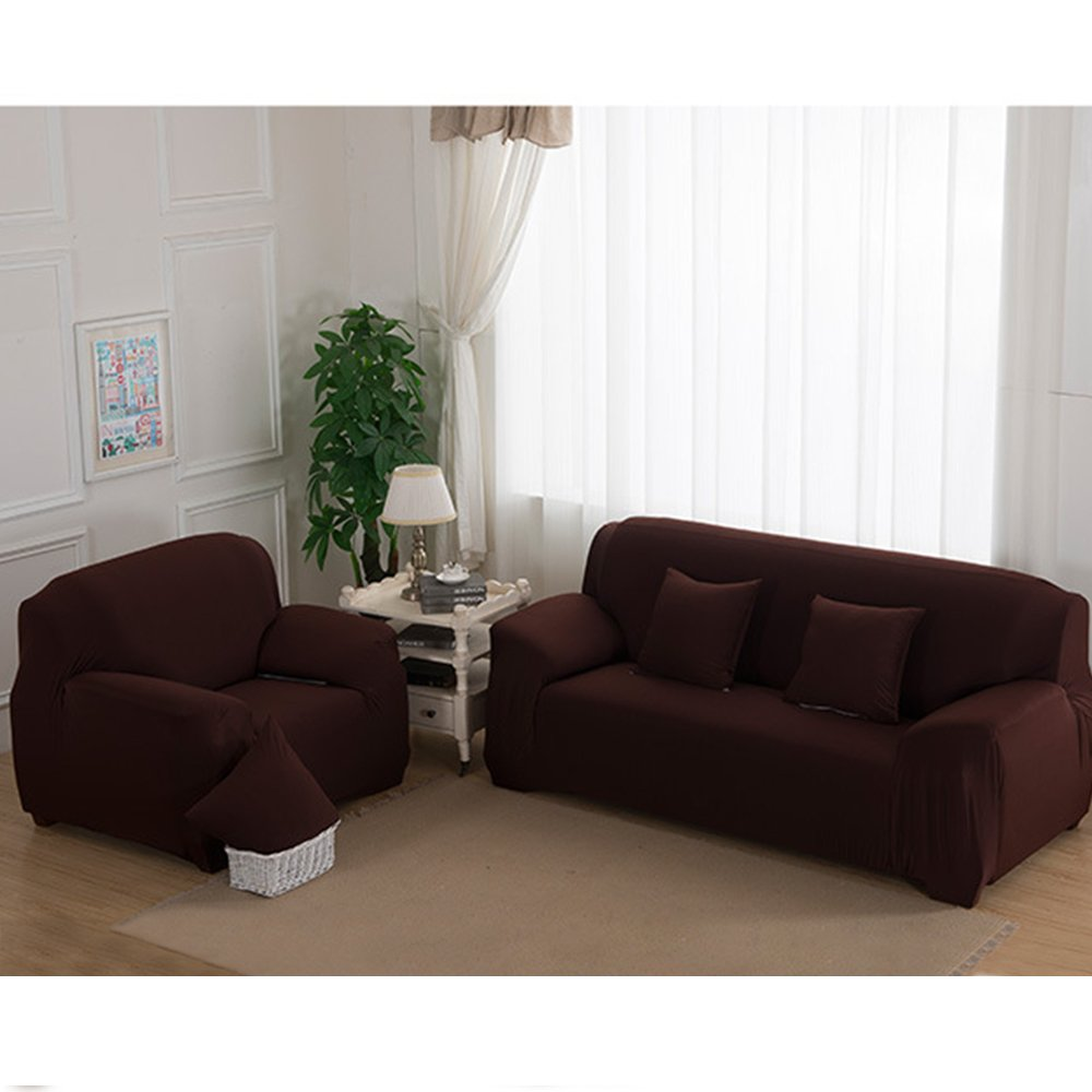 Stretch Seat Chair Covers Couch Slipcover Sofa Loveseat Cover 9 Colors/4 Size Available for 1 2 3 4 Four People Sofa + Pillowcase (74''-90''/3 Seater, Coffee)