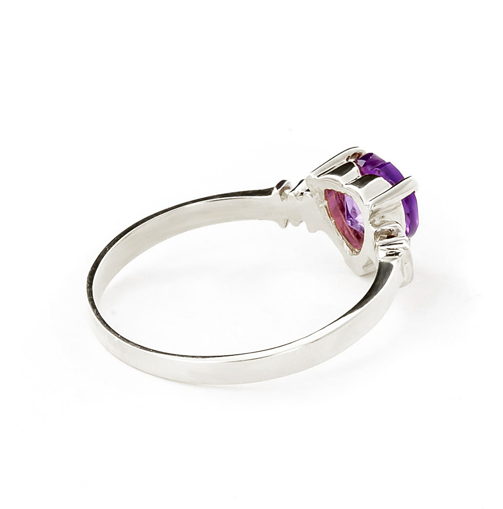 14k White Gold Ring with Genuine Diamonds and Natural Heart-shaped Purple Amethyst - Size 11 by Galaxy Gold (Image #3)