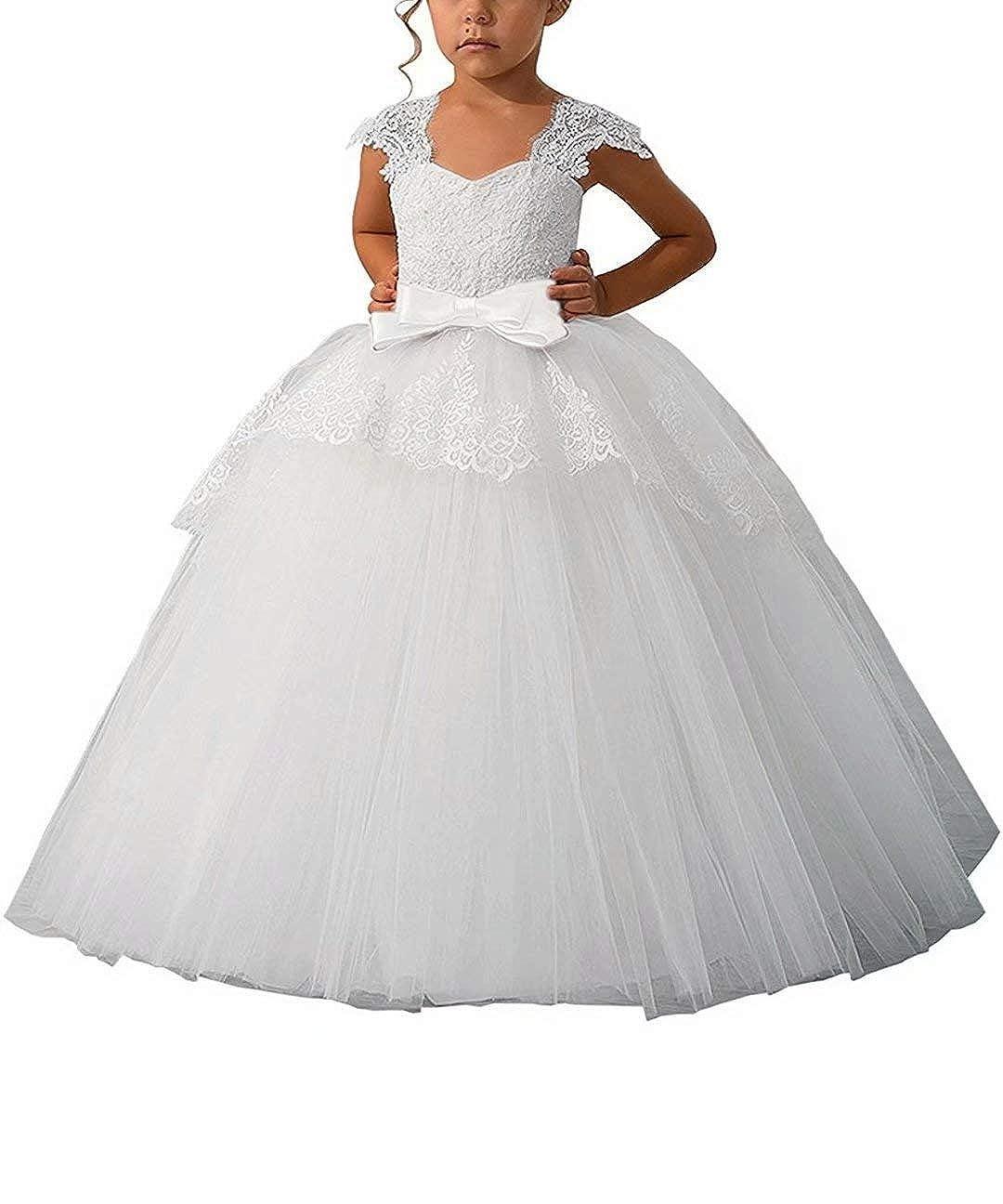 002  All blanc Taille unique CDE Robe Longue en Dentelle pour Fille Motif Fleurs