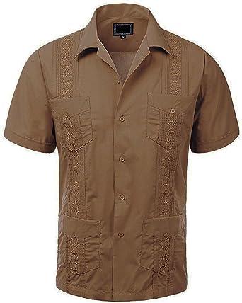 Maximos Mens Cuban Guayabera Short Sleeve Button-Up Casual Embroidered Shirt