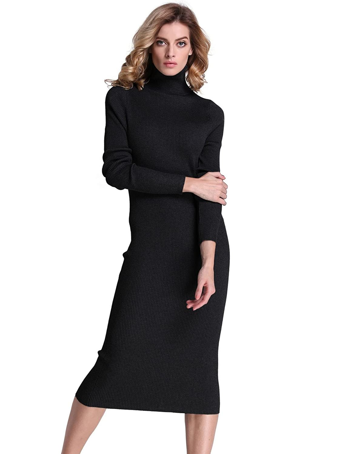 PrettyGuide Women Slim Fit Ribbed Turtleneck Long Sleeve Maxi Knit ...