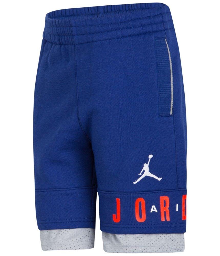 Jordan Boys Layered Logo Athletic Sweat Shorts Blue 7 - Little Kids (4-7)
