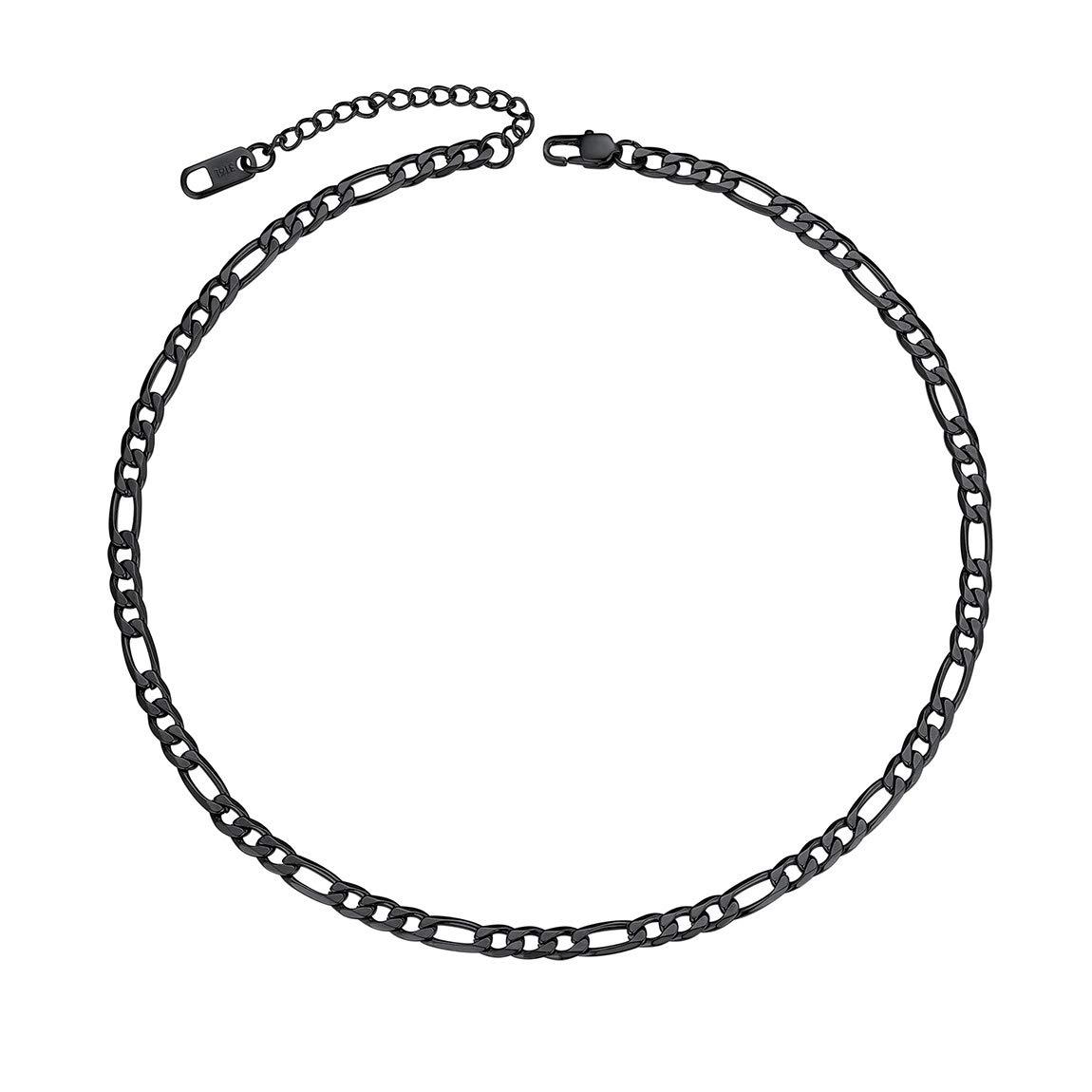 ChainsPro Collier Homme Cha/îne Maille Figaro 3+1 -Largeur 4MM Ton Argent//Noir//Or Longueur 35+5//46//51//55//61//66//71//76cm Collier Chunky Style pour Homme Gar/çon Femme avec Coffret Cadeau