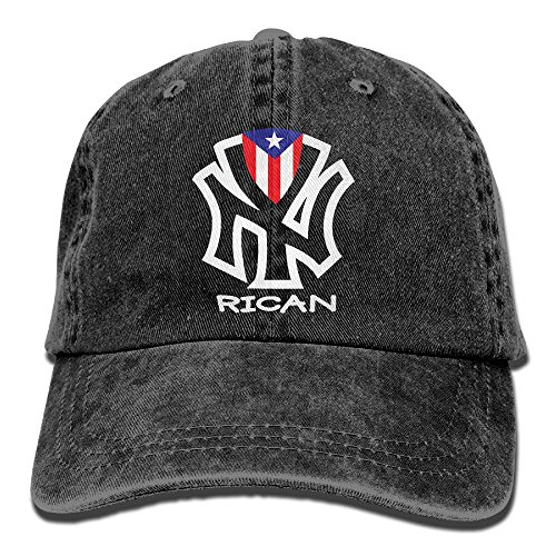 (RZM YLY's Puerto Rico Flags Rican Unisex Adult Vintage Washed Denim Adjustable Baseball Cap)