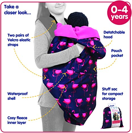 Con forro polar BundleBean Azul marino//rosa Dise/ño de flamencos Funda para todo tipo de portabeb/és BabyWearing