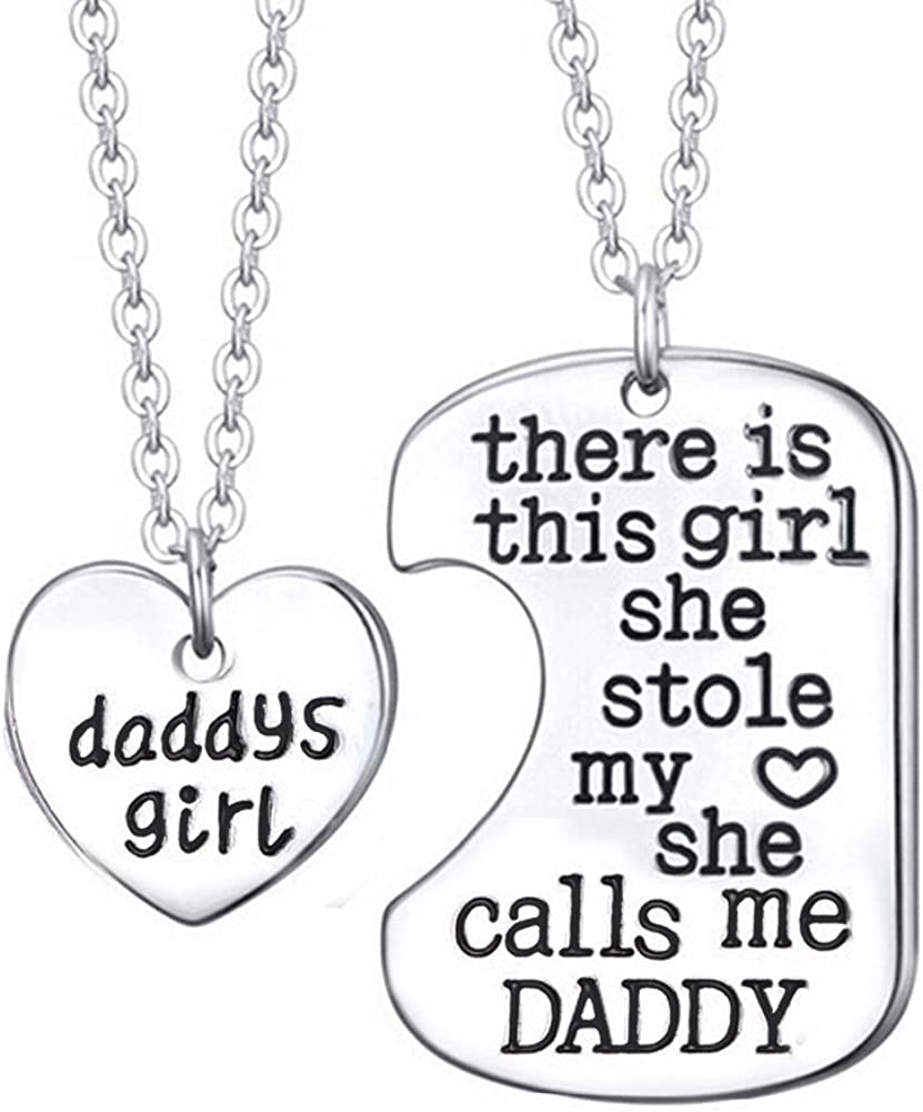 Personalised Engraved DADDYS LITTLE GIRL heart charm necklace IN GIFT BOX