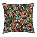 Ambesonne Doodle Throw Pillow Cushion Cover, Cinema Items Combined in an Abstract Style Popcorn Movie Reel The End Theatre Masks, Decorative Square Accent Pillow Case, 16 X 16 Inches, Multicolor