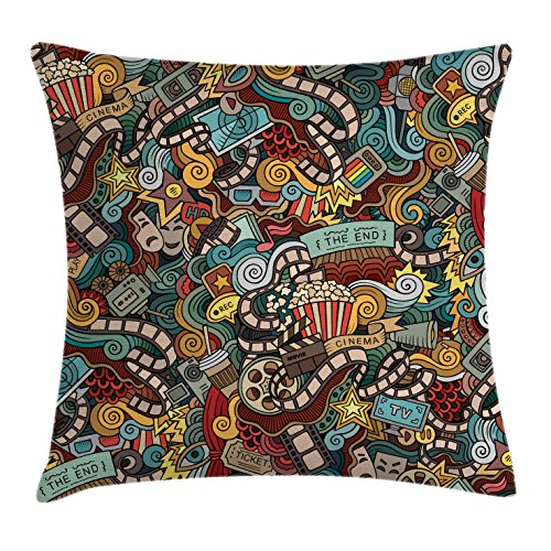 Ambesonne Doodle Throw Pillow Cushion Cover, Cinema Items Combined in an Abstract Style Popcorn Movie Reel The End Theatre Masks, Decorative Square Accent Pillow Case, 16 X 16 Inches, Multicolor by Ambesonne
