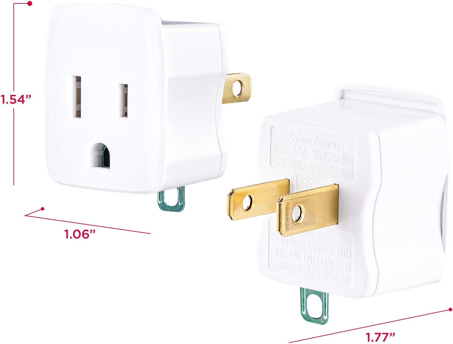 2 Pack CyberPower GT1W2PK Grounding Adapters