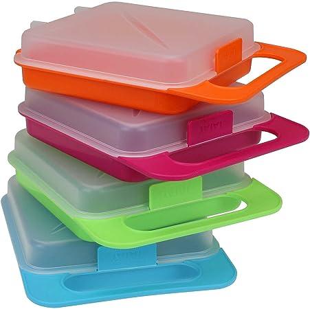 Juego de 4 cajas de alta calidad Sandwich – Fiambrera infantil Foodcenter – Recipiente hermético para bocadillos y sándwiches: Amazon.es: Hogar