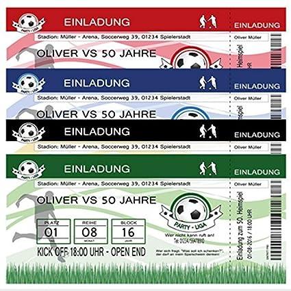 50 Einladungskarten Zum Geburtstag Fussball Fussball Ticket Einladung Party 50 Stuck