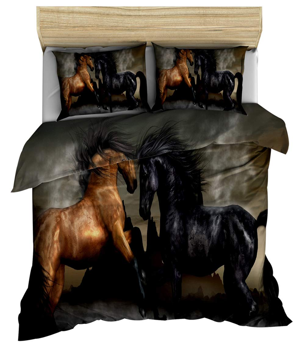 Kids Bedspread Cover Twin Size Horse Printed Duvet Cover for Adult Teens Boys Quilt Cover Animal Theme Comforter Cover Wild Horse Pattern Bedspread Farmhouse Decor Duvet Cover Exotic Style Bedding by Erosebridal
