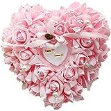 Zentto anello nuziale cuscino cuscino rosa cuore anello Favors box wedding Ring Pillow con raso flora 24x 22cm (1pezzo), Pink, 24 x 22 cm