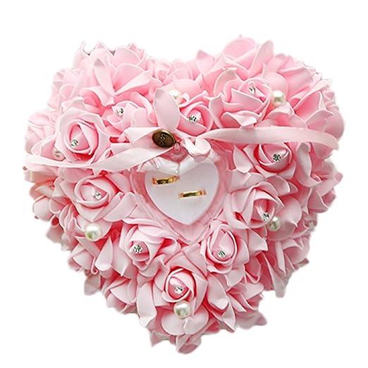 Zentto - Cojín para anillo de boda con rosa, diseño de ...