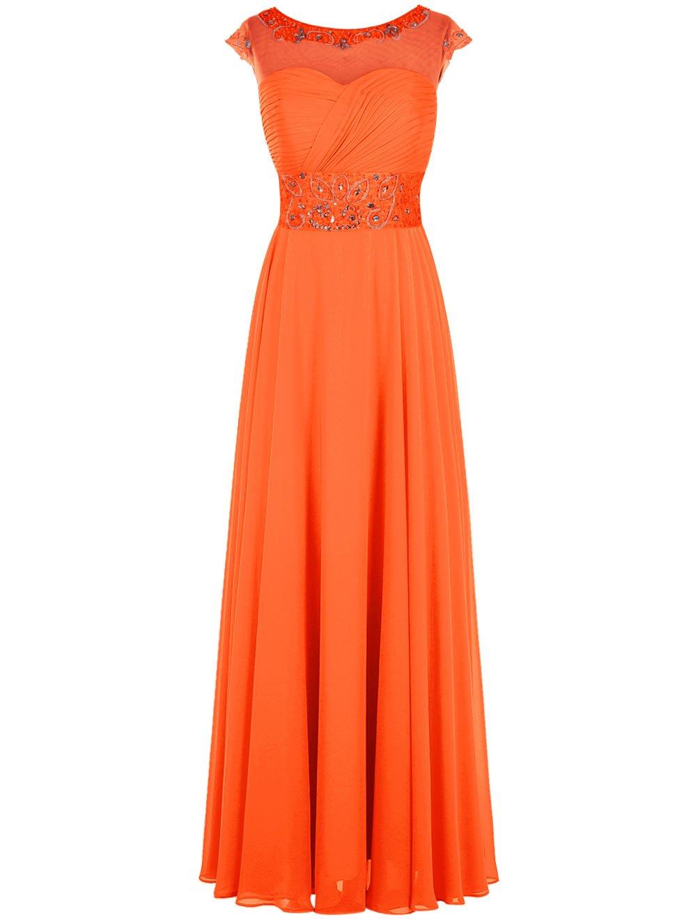 Dresstell(ドレステル) 結婚式 フォーマルドレス ビジュー付き キャップ袖 ロング丈 レディース B019MSSTXK JP13|オレンジ オレンジ JP13