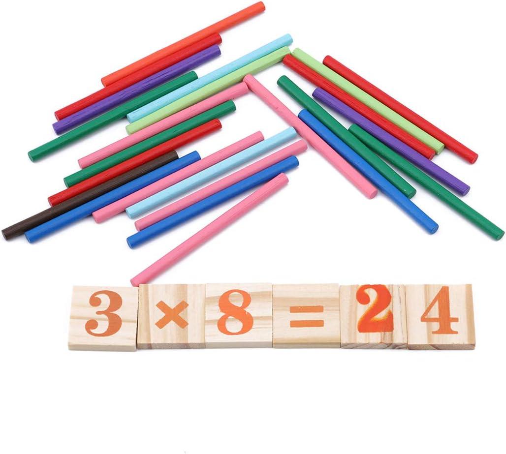 Yingwei VWH Enfants Compter Arithm/étiques B/âtons Figure Arithm/étique Math Puzzles Apprentissage en Bois Jouet