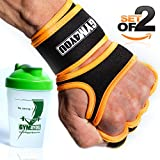Gym4You Fitness Grips - with BONUS SHAKER - Ideal Weight Lifting Gloves for Gym, Workout or CrossFit - Leather Padding for best palm protection - BONUS E-BOOK - (orange, M)