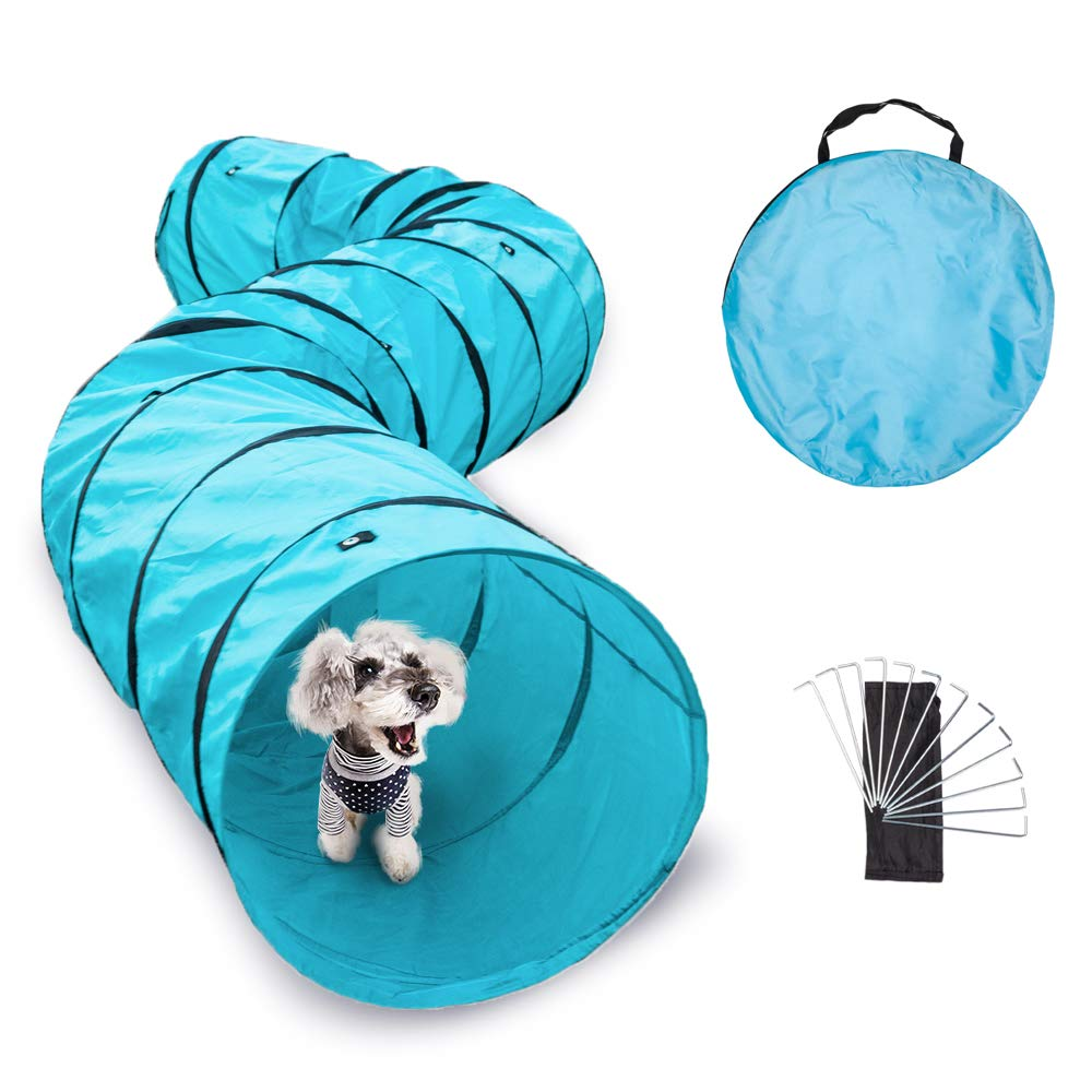 Wicwis 18 ft Long, 2 ft Wide Opening, Pet Agility Tunnel, Outdoor Training and Exercise Equipment for Small and Medium Dogs, Puppies and Other Animals, Park Playground Toy, Large Obstacle Course, Blue by Wicwis