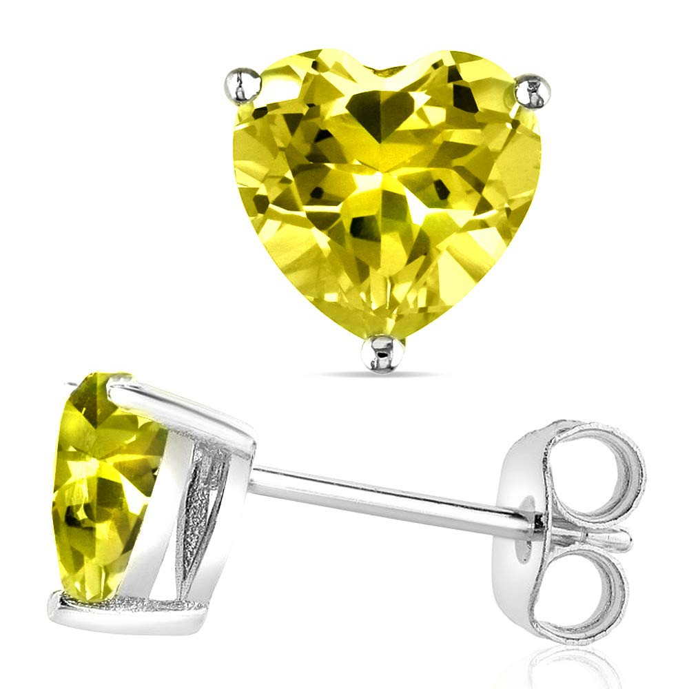 14k Gold Butterfly Backings /& Sterling Silver Basket Settings Heart Cubic Zirconia Simulated Canary Stud Earrings 1.50ctw