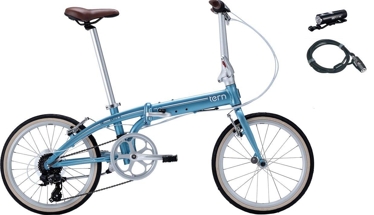 2017年モデル Tern【ターン】 Link C8 20インチ 折畳み自転車 +フロントライト、ロングワイヤー錠 B01M3Y1OZG ライトブルー×ホワイト ライトブルー×ホワイト