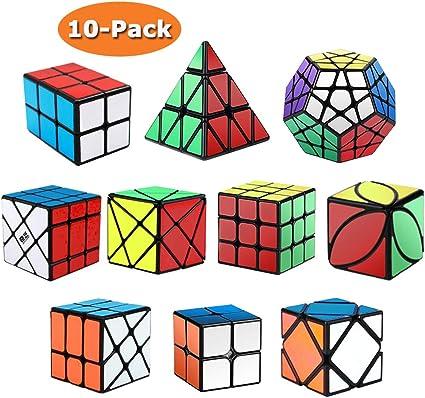 ROXENDA Cubos de Velocidad, [Paquete de 10] Speed Cube Set - 2x2x2 3x3x3 2x2x3 Pirámide Megaminx Skew Axis Windmill Ivy Fisher Cube Smooth Magic Cube Colección de Rompecabezas: Amazon.es: Bricolaje y herramientas
