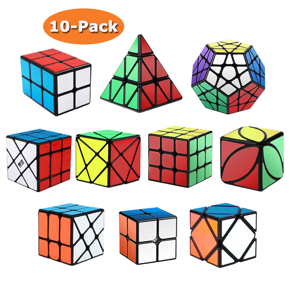 Roxenda Speed Cubes, [10 Pack] Speed Cube Set - 2x2x2 3x3x3 2x2x3 Skew Axis Windmill Fisher Megaminx Pyramid Ivy Cube Smooth Magic Cubes Puzzles Collection by Roxenda