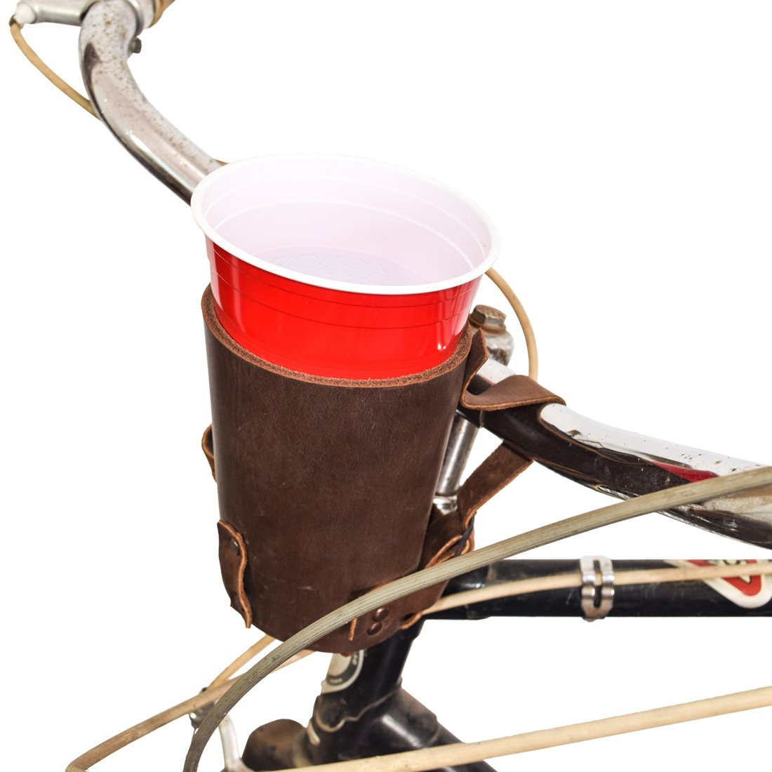 Hide & Drink Cruzy Kuzy Thick Leather Bike Cup Holder Handmade by Bourbon Brown