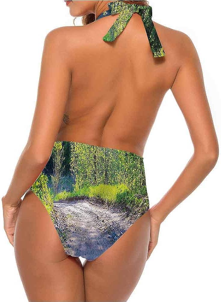 Maillot de bain femme printemps, lac et floraison flore très mignon et à lanières Multicolore 07