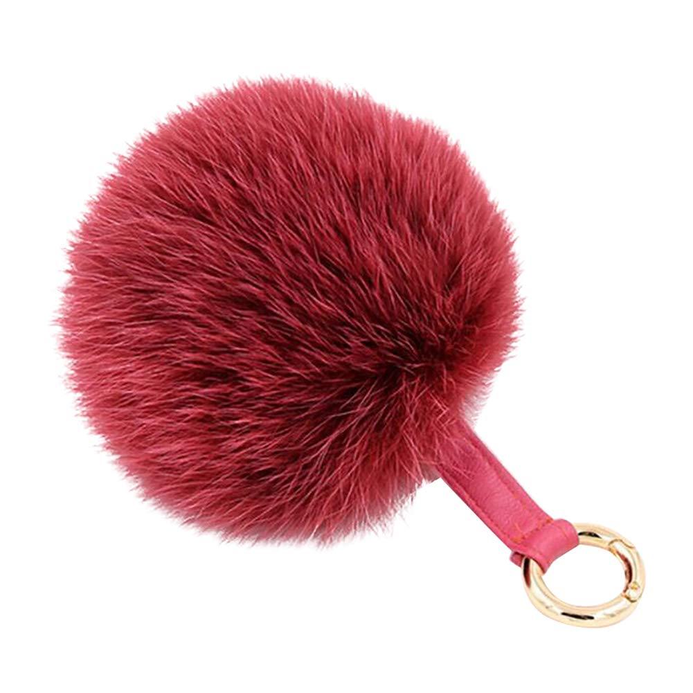 AchidistviQ Fashion morbida pelliccia palla portachiavi auto portachiavi donne borsa ciondolo appeso Wine Red