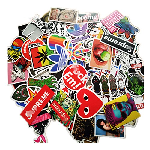 (NIANPU 100 Pieces Waterproof Vinyl Stickers for Personalize Laptop, Car, Helmet, Skateboard, Luggage Graffiti Decals (D -)