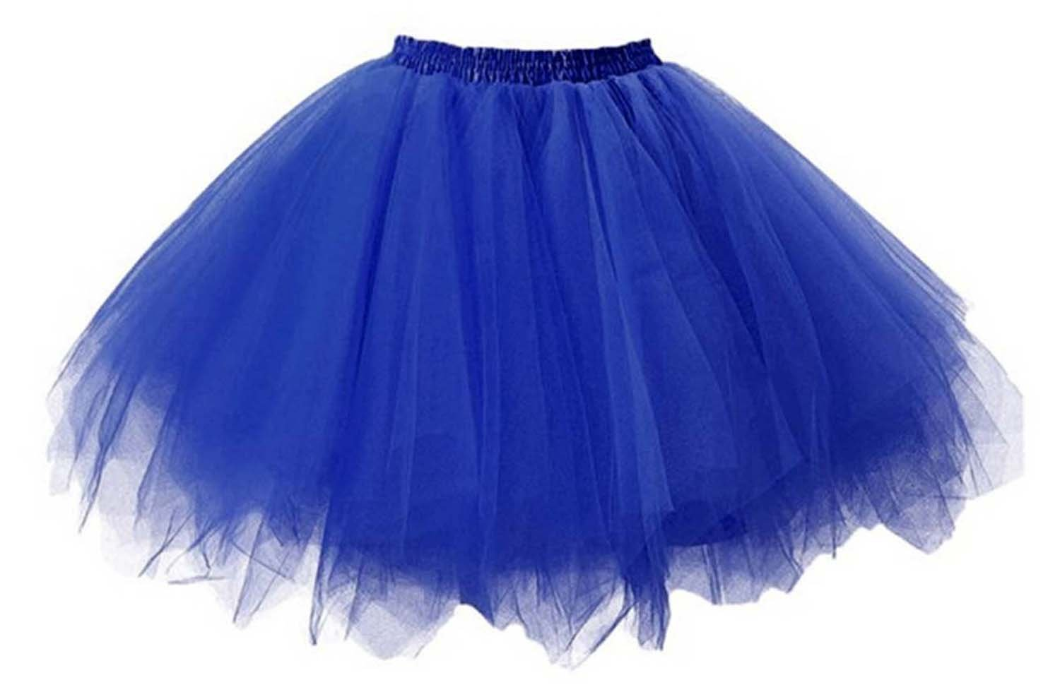 Fanhao Lace Tutu Skirt Half Dress Underskirt Short for Prom,Cosplay,Show,Ballet Dancing,Blue