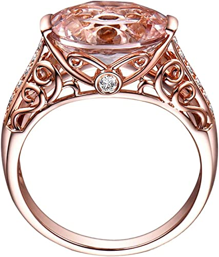 Rose Gold Geometric Circle Ring Round Clear Crystal Rings for Women Men Jewelry