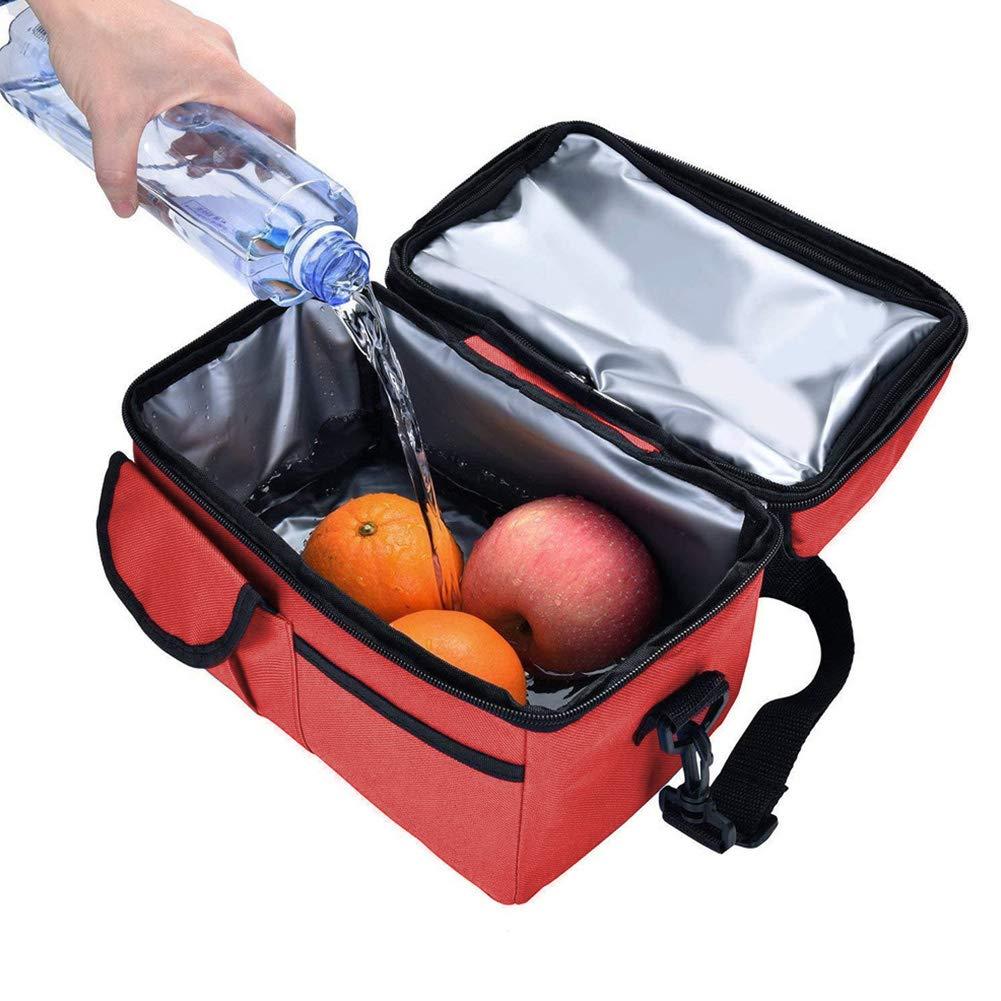 WENTS Bolsa T/érmica 8L Gran Doble Compartimentos Aislamiento Bolsa de Almuerzo Bolso Nevera Plegable con Correa para Adulto Ni/ños Trabajo Oficina Playa Viaje Naranja