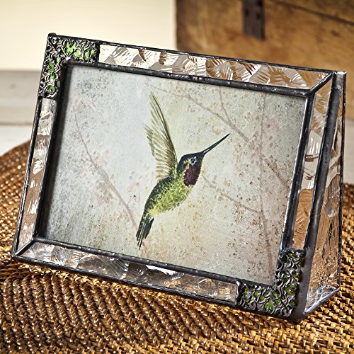 Textured Metal Frame (J Devlin Pic 352-46H Stained Glass 4x6 Picture Frame Horizontal Landscape Photo Frame Clear Textured and Green with Metal Overlay Hummingbird Keepsake Gift)