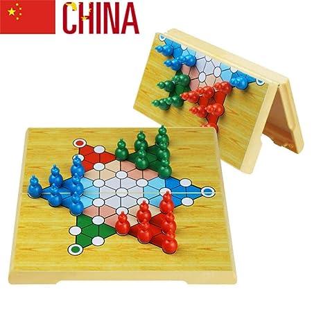 Damas Chinas Juego Tablero, Plegable magnetico para 2 o más Jugadores (Importado) - Juegos de Mesa de 6 años A: Amazon.es: Hogar