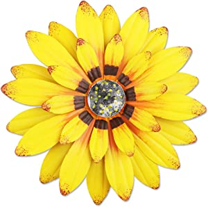 """YiYa 13"""" Metal Flower Wall Decor Multiple Layer Flower Wall Art Wall Art Decorations Hanging for Balcony Patio Porch Bedroom Living Room Garden (Yellow)"""