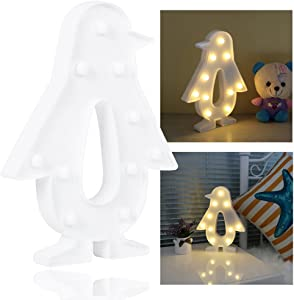 REVEW Marquee Night Light, Led Lamp Wall Decoration for Kids & Adults Room/Living Room/Bedroom Table - Battery Powered (Penguin)