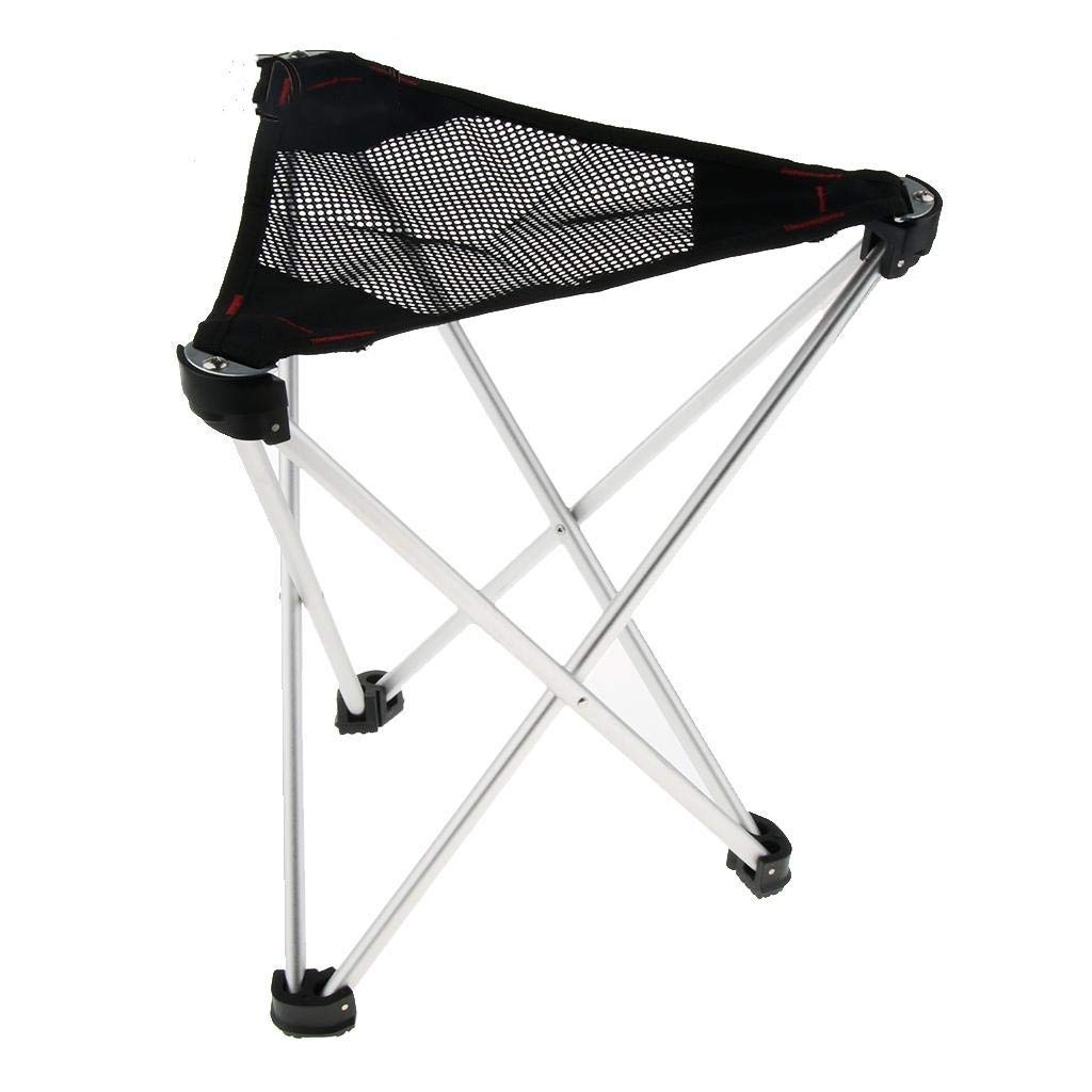 Outdoor Folding Tripod Chair Camping Stool Portable Aluminum Alloy Multifunction Leisure Ultralight Thickening Picnic Travel Fishing Mountaineering Barbecue Park Adventure Beach Black