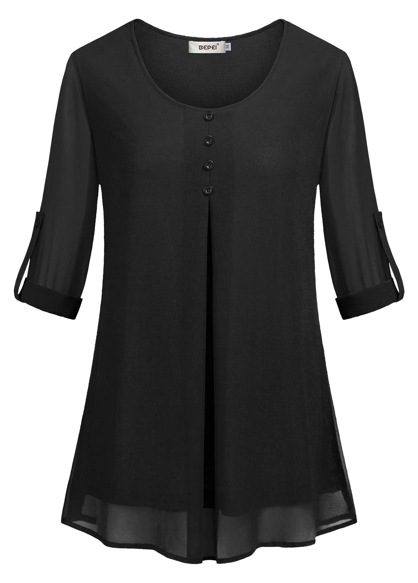 BEPEI Womens Tops and Blouses,Misses 3 4 Cuffed Sleeve Casual Classy Double Layers Pleats Chiffon Tunics Soft Loose Fitted Snug Blouses Modern Dressy Button Trim Flows Shirts Boutique Clothing Black L