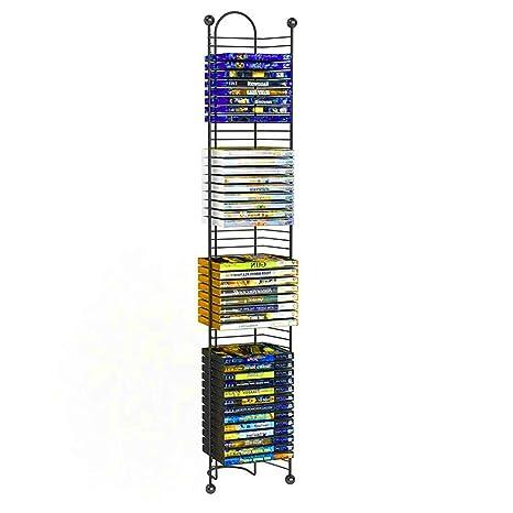 BS DVD Tower Holder Black Metal DVD Storage Slim Media 52 Slots Organizer  Stand Rack