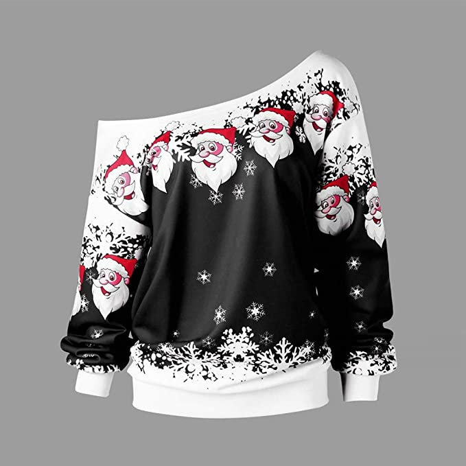 Femmes Grande Taille Joyeux No/ël P/ère No/ël Imprimer Chemisier Manches Longues Skew Collar Pull Sweatshirt YEBIRAL Weatshirts de No/ël